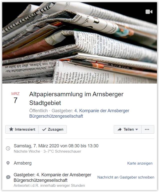 Altpapiersammlung im Stadtgebiet Arnsberg